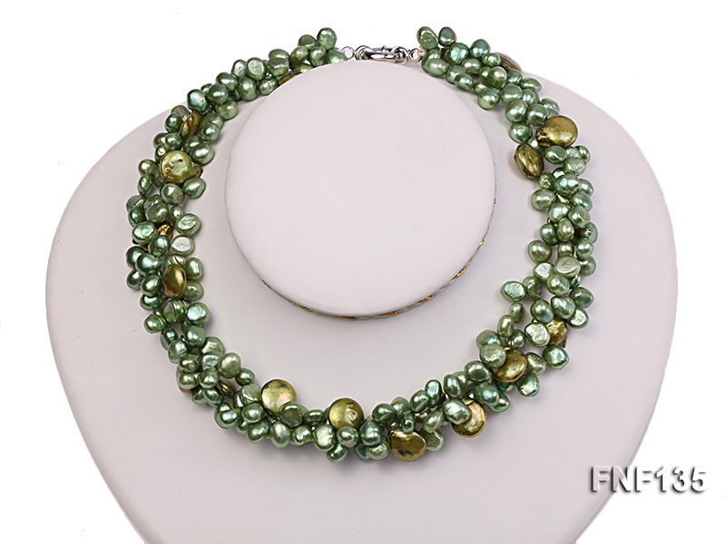 Three-strand Green Flat Freshwater Pearl and Dark-green Button Pearl Necklace big Image 1