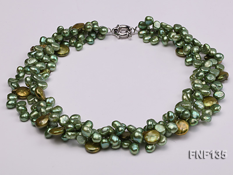 Three-strand Green Flat Freshwater Pearl and Dark-green Button Pearl Necklace big Image 3