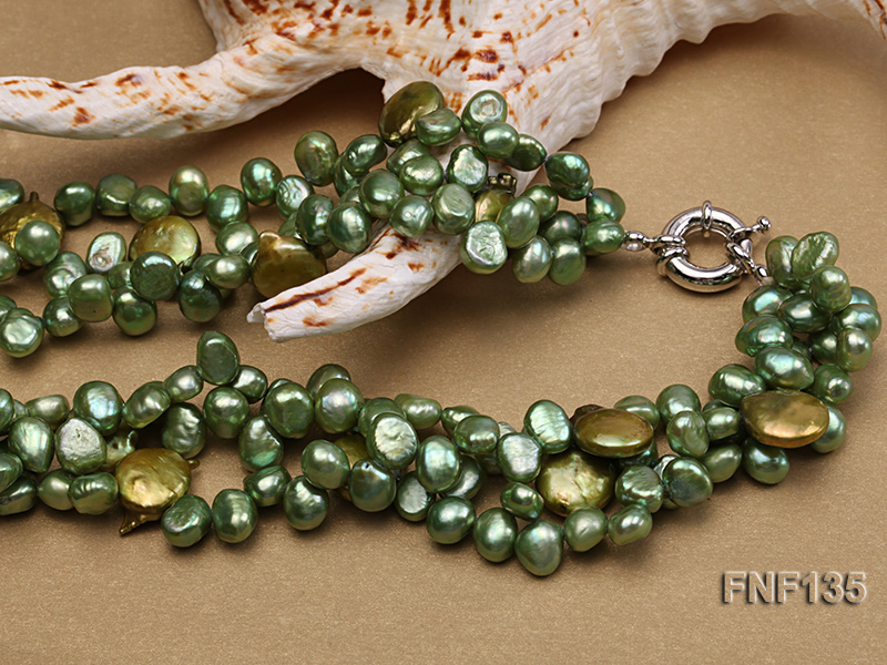 Three-strand Green Flat Freshwater Pearl and Dark-green Button Pearl Necklace big Image 4