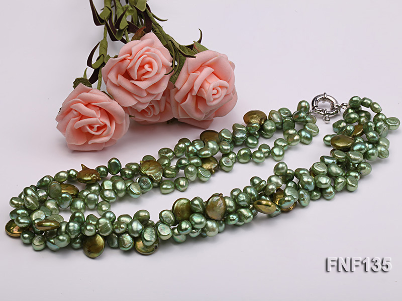 Three-strand Green Flat Freshwater Pearl and Dark-green Button Pearl Necklace big Image 5