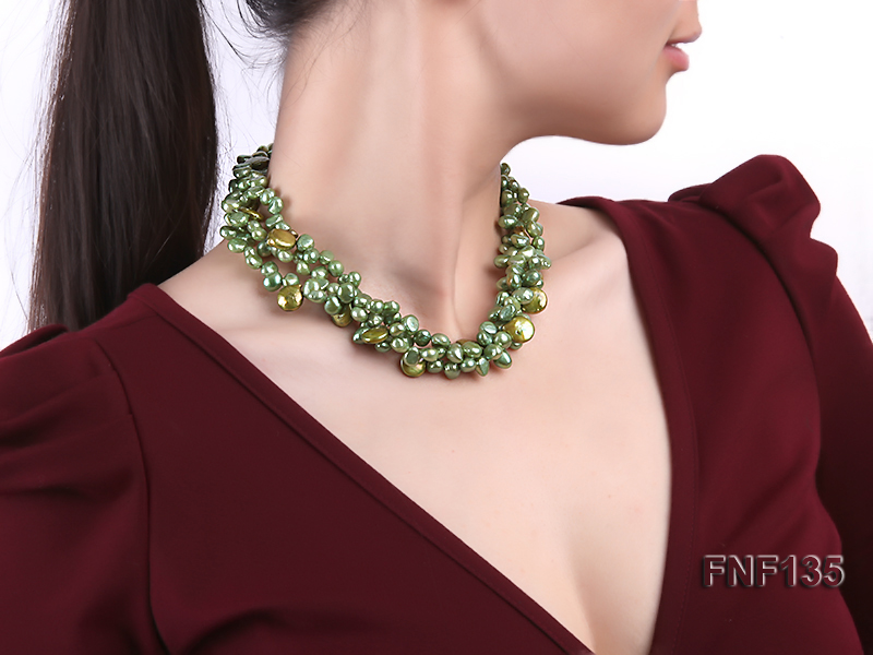 Three-strand Green Flat Freshwater Pearl and Dark-green Button Pearl Necklace big Image 6