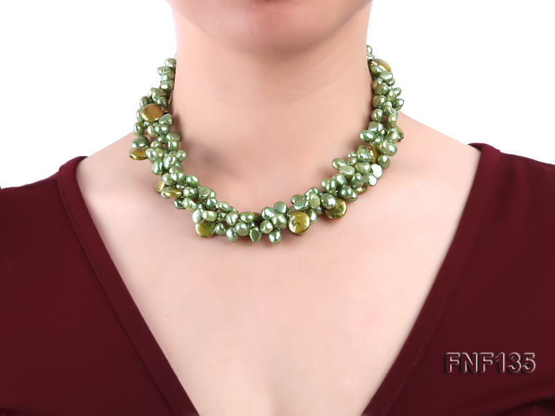 Three-strand Green Flat Freshwater Pearl and Dark-green Button Pearl Necklace big Image 2