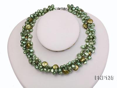 Three-strand Green Flat Freshwater Pearl and Dark-green Button Pearl Necklace FNF135 Image 1