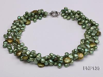 Three-strand Green Flat Freshwater Pearl and Dark-green Button Pearl Necklace FNF135 Image 3