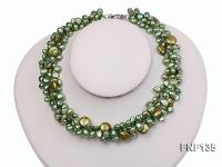 Three-strand Green Flat Freshwater Pearl and Dark-green Button Pearl Necklace FNF135