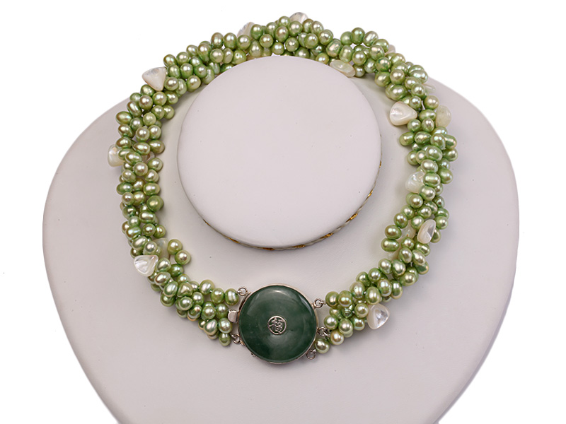 Four-strand 7-8mm Green Freshwater Pearl Necklace with White Seashell Pieces big Image 1