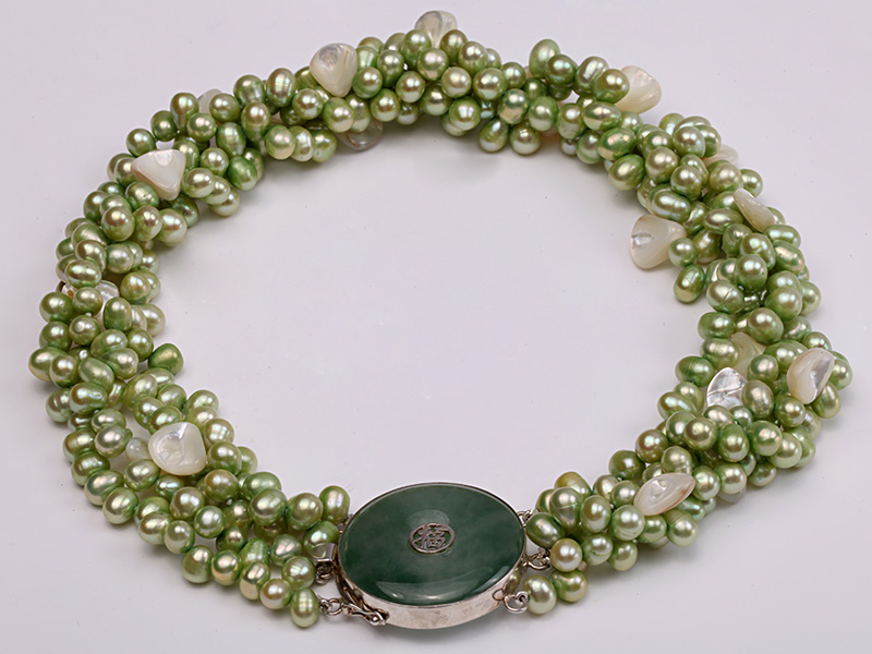 Four-strand 7-8mm Green Freshwater Pearl Necklace with White Seashell Pieces big Image 4