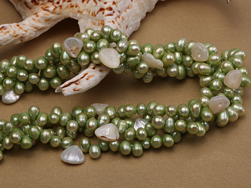 Four-strand 7-8mm Green Freshwater Pearl Necklace with White Seashell Pieces big Image 5
