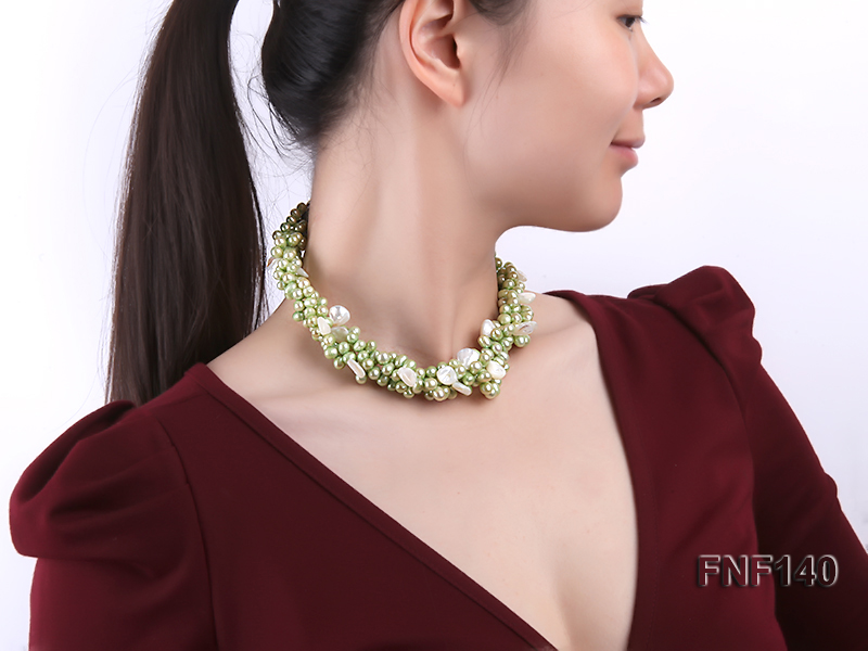 Four-strand 7-8mm Green Freshwater Pearl Necklace with White Seashell Pieces big Image 3