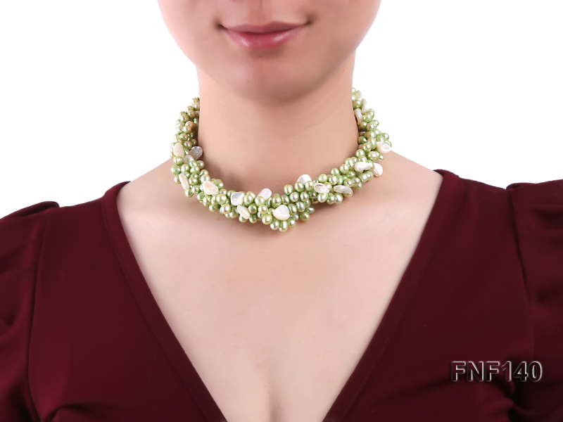 Four-strand 7-8mm Green Freshwater Pearl Necklace with White Seashell Pieces big Image 2