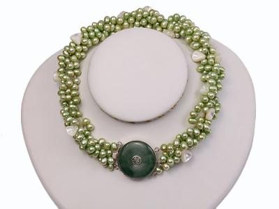 Four-strand 7-8mm Green Freshwater Pearl Necklace with White Seashell Pieces FNF140 Image 1