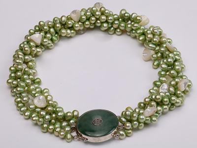 Four-strand 7-8mm Green Freshwater Pearl Necklace with White Seashell Pieces FNF140 Image 4