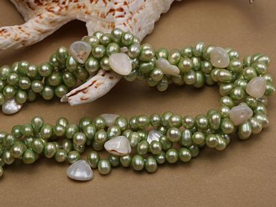 Four-strand 7-8mm Green Freshwater Pearl Necklace with White Seashell Pieces FNF140 Image 5