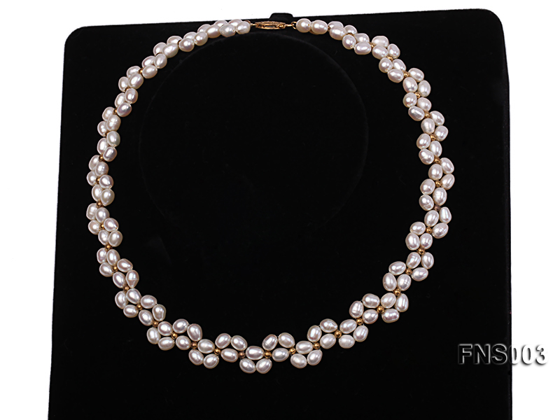 5-5.5mm natural white rice freshwater pearl single necklace big Image 2