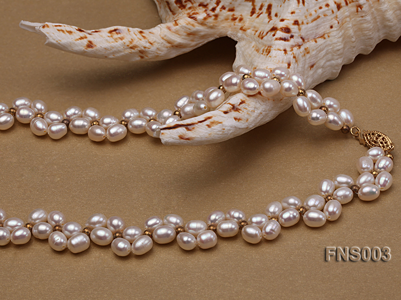 5-5.5mm natural white rice freshwater pearl single necklace big Image 3