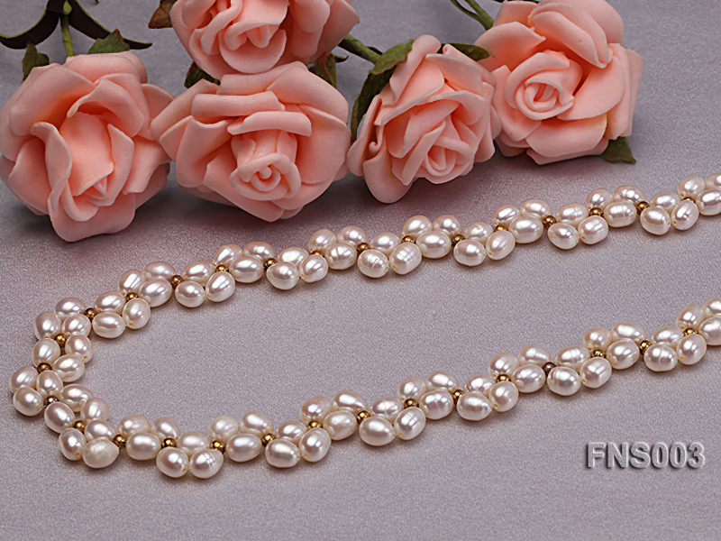 5-5.5mm natural white rice freshwater pearl single necklace big Image 4