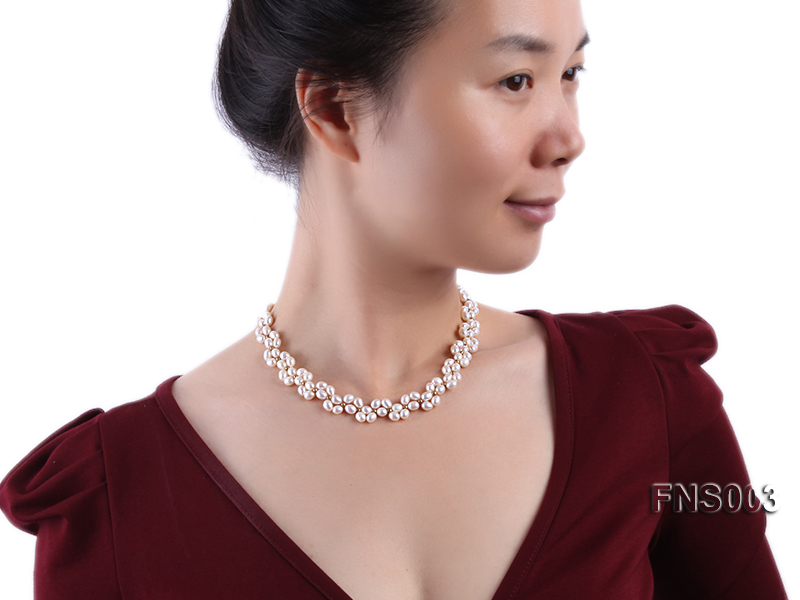 5-5.5mm natural white rice freshwater pearl single necklace big Image 5