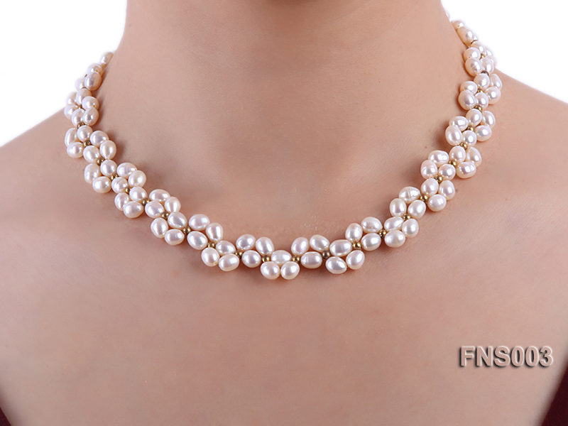 5-5.5mm natural white rice freshwater pearl single necklace big Image 6