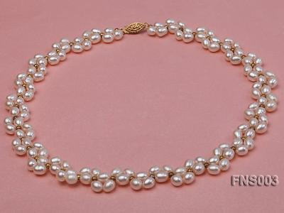 5-5.5mm natural white rice freshwater pearl single necklace FNS003 Image 1
