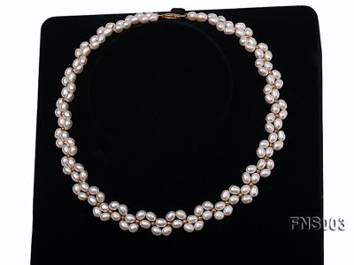 5-5.5mm natural white rice freshwater pearl single necklace FNS003 Image 2