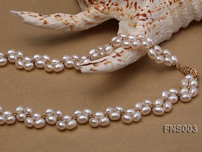 5-5.5mm natural white rice freshwater pearl single necklace FNS003 Image 3