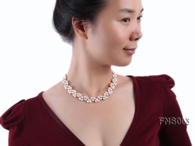 5-5.5mm natural white rice freshwater pearl single necklace FNS003 Image 5