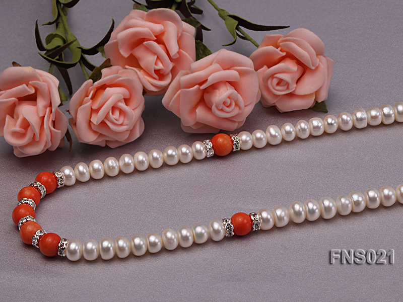 8-9mm natural white flat freshwater pearl with red coral single strand necklace big Image 1