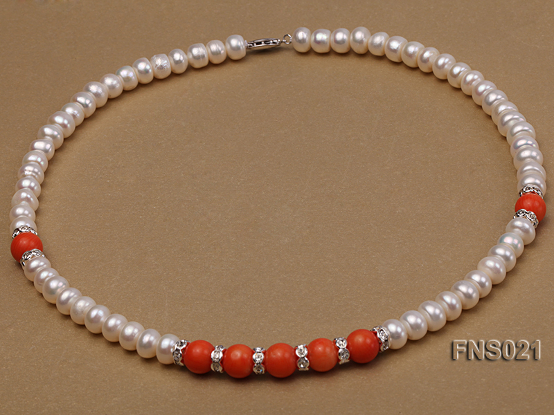 8-9mm natural white flat freshwater pearl with red coral single strand necklace big Image 2