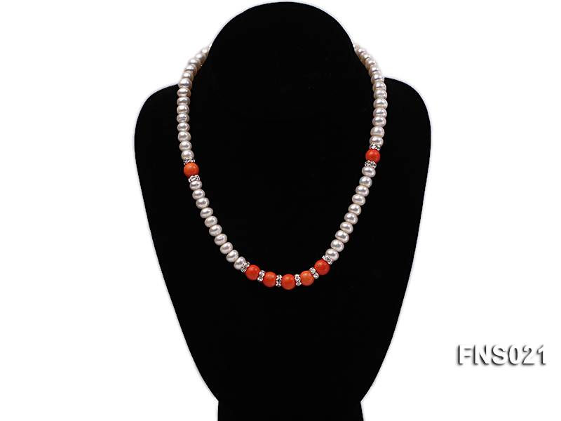 8-9mm natural white flat freshwater pearl with red coral single strand necklace big Image 4
