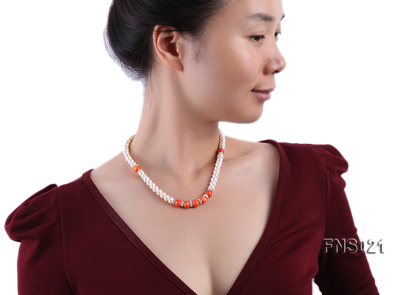 8-9mm natural white flat freshwater pearl with red coral single strand necklace big Image 5