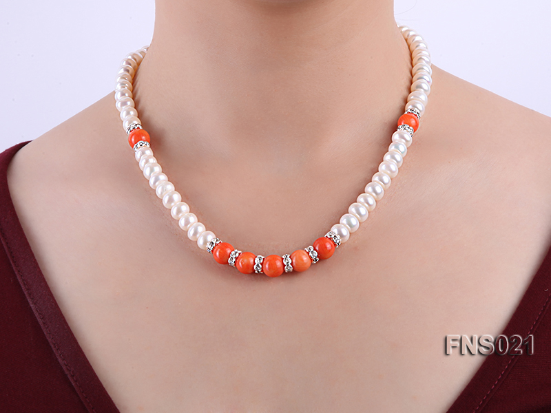 8-9mm natural white flat freshwater pearl with red coral single strand necklace big Image 6
