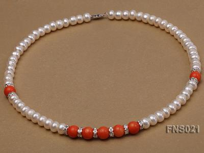 8-9mm natural white flat freshwater pearl with red coral single strand necklace FNS021 Image 2