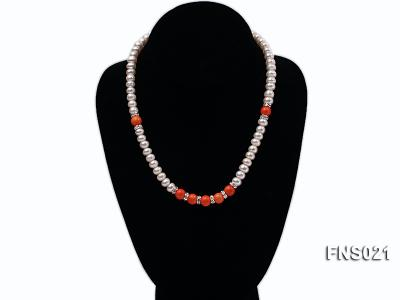 8-9mm natural white flat freshwater pearl with red coral single strand necklace FNS021 Image 4