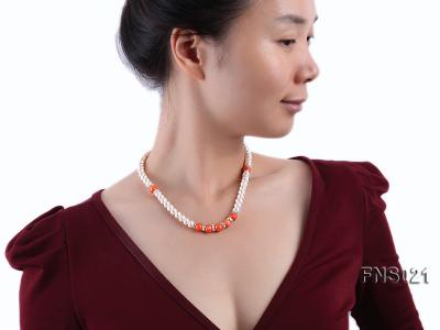 8-9mm natural white flat freshwater pearl with red coral single strand necklace FNS021 Image 5
