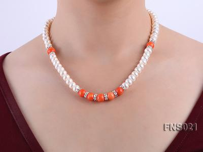 8-9mm natural white flat freshwater pearl with red coral single strand necklace FNS021 Image 6