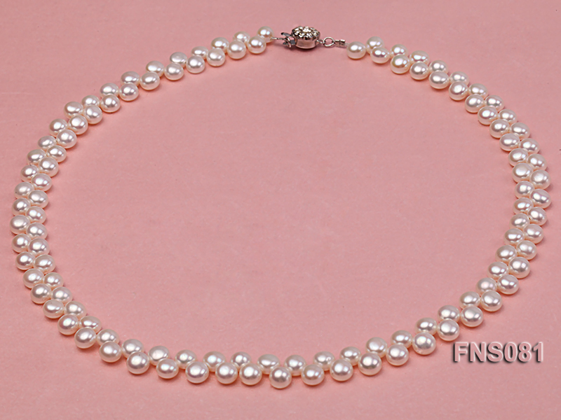 5-6mm natural white side-drilled freshwater pearl necklace big Image 1