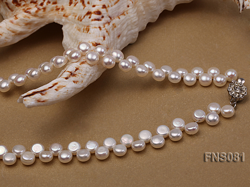 5-6mm natural white side-drilled freshwater pearl necklace big Image 4