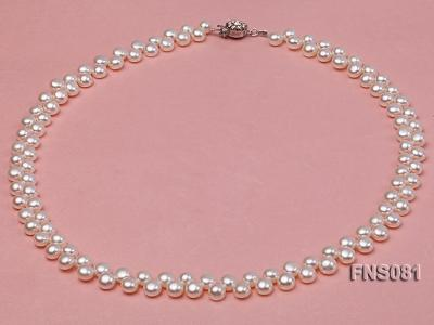 5-6mm natural white side-drilled freshwater pearl necklace FNS081 Image 1