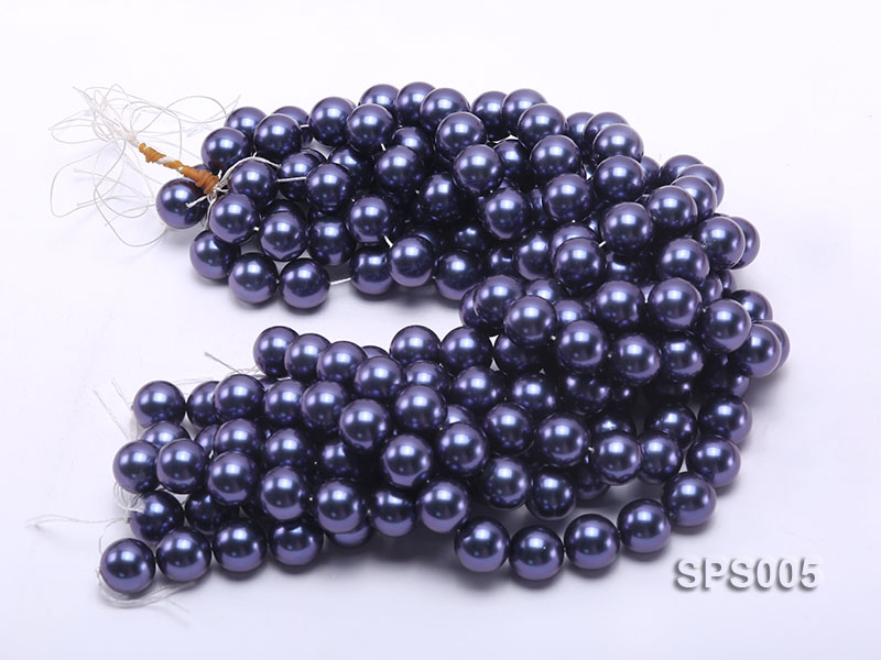 Wholesale 16mm Black Round Seashell Pearl String big Image 3