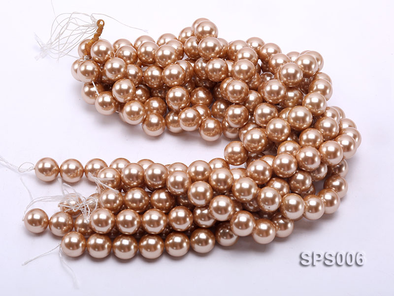 Wholesale 16mm Golden Round Seashell Pearl String big Image 3