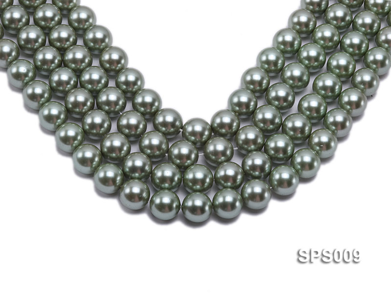 Wholesale 16mm Green Round Seashell Pearl String big Image 1