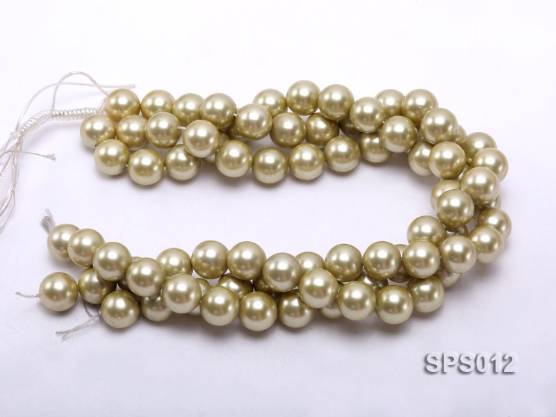 Wholesale 16mm Olive Round Seashell Pearl String big Image 3