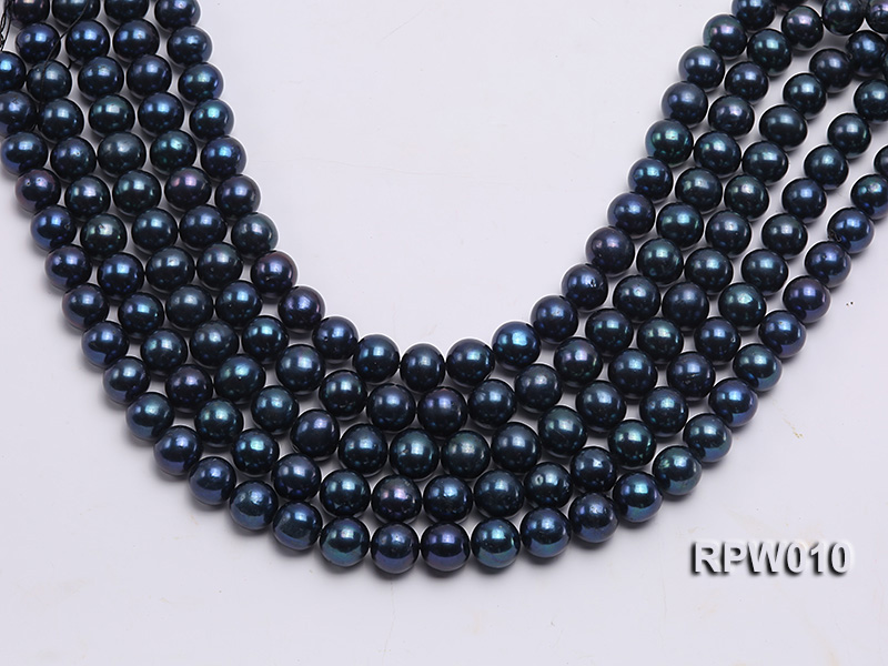 Wholesale AA 12-13mm Black Round Freshwater Pearl String   big Image 2