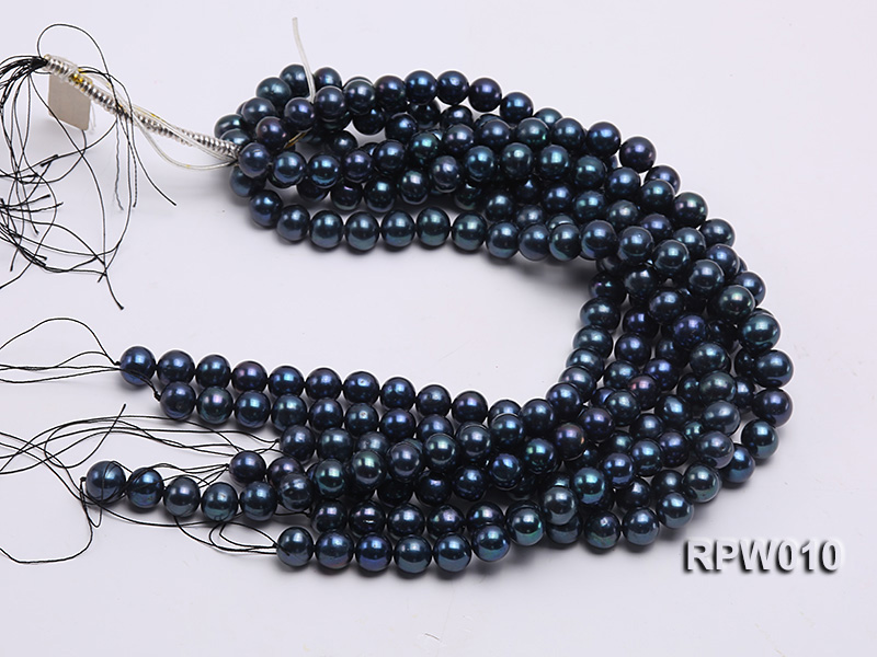 Wholesale AA 12-13mm Black Round Freshwater Pearl String   big Image 4