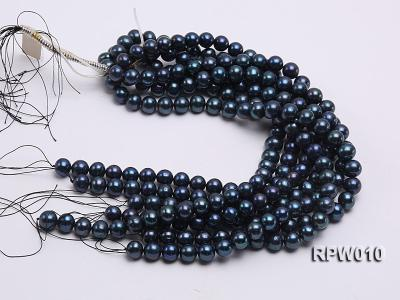Wholesale AA 12-13mm Black Round Freshwater Pearl String   RPW010 Image 4