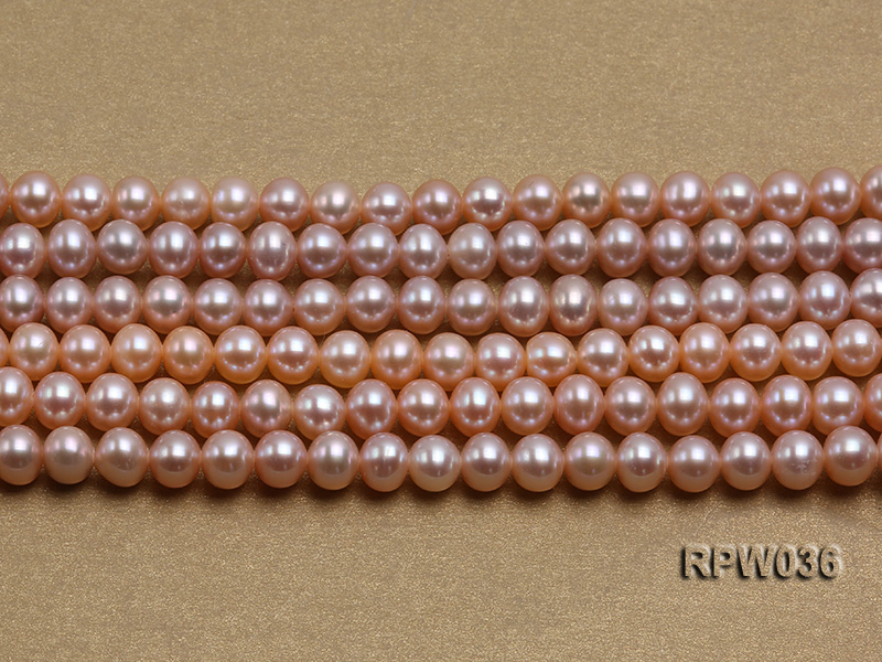 Wholesale & Retail 6-7mm Pink Round Freshwater Pearl String big Image 2