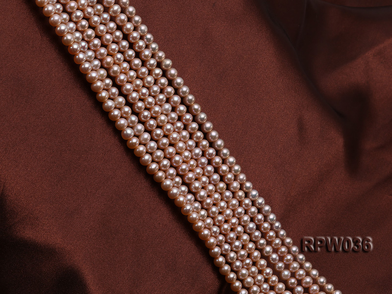 Wholesale & Retail 6-7mm Pink Round Freshwater Pearl String big Image 3