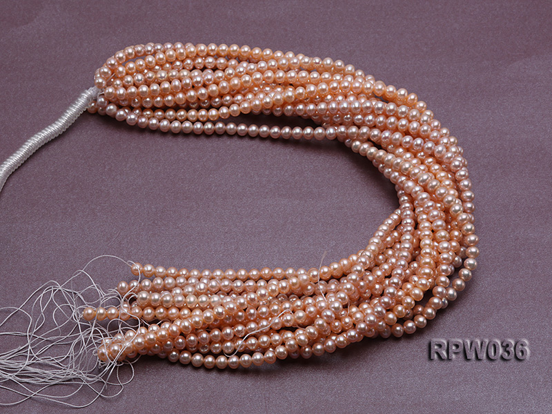 Wholesale & Retail 6-7mm Pink Round Freshwater Pearl String big Image 4