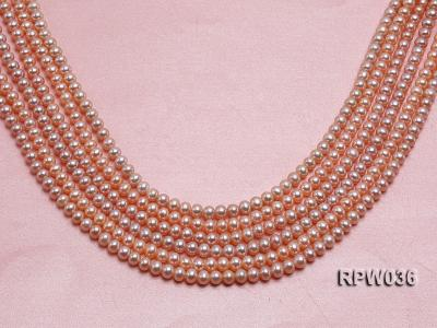Wholesale & Retail 6-7mm Pink Round Freshwater Pearl String RPW036 Image 1