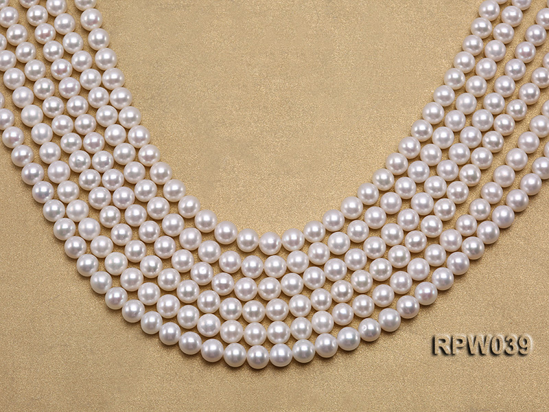 Wholesale High-quality 7-8mm Classic White Round Freshwater Pearl String big Image 1